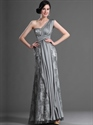 Show details for Elegant Grey Lace And Chiffon Column One Shoulder Prom Dresses