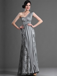 Elegant Grey Lace And Chiffon Column One Shoulder Prom Dresses