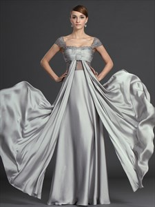 Flowy Grey Chiffon Ruched Bodice Prom Dresses With Lace Cap Sleeves