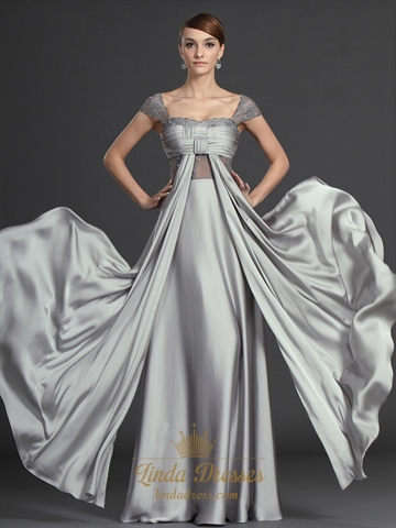 Flowy grey chiffon ruched bodice prom dresses with lace for Flowy wedding dresses with sleeves