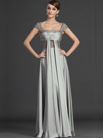 Grey Chiffon A Line V Neck Cap Sleeve Prom Dress With