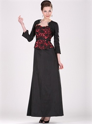 Black And Red Taffeta Lace Bodice Mother Of The Bride Dress With Jackets