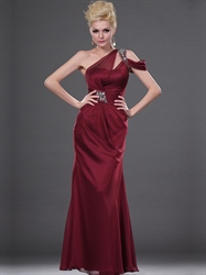 Burgundy One Shoulder Chiffon Prom Dress With Rhinestone Detailing