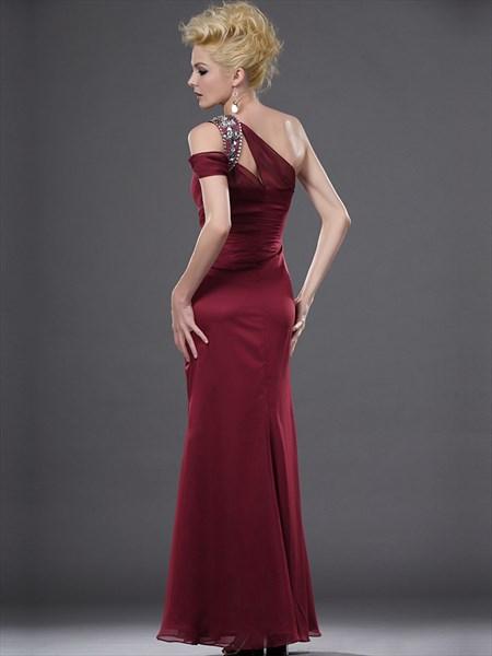 Burgundy One Shoulder Chiffon Prom Dress With Rhinestone Detailing