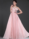 Show details for Pink Strapless Empire A-Line Chiffon Prom Dress With Feathers On Top