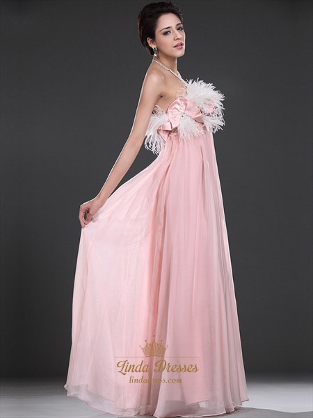 Pink Strapless Empire A-Line Chiffon Prom Dress With Feathers On Top