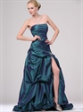 Show details for Teal Strapless Pick Up Skirt Prom Dress With Beaded Embellishment