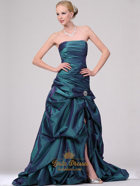 Teal Strapless Pick Up Skirt Prom Dress With Beaded Embellishment