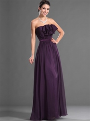 Grape Strapless Chiffon Ruffled Neckline Long Bridesmaid Dresses