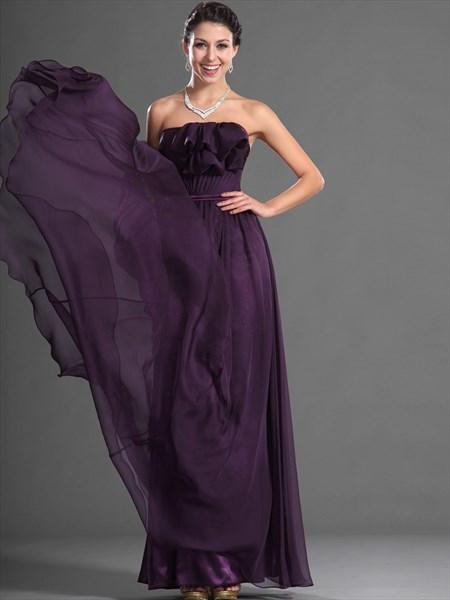 Grape Strapless Chiffon Ruffled Neckline Long Bridesmaid Dresses