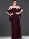 Show details for Burgundy Strapless Beaded Chiffon Bridesmaid Dresses With Shawls