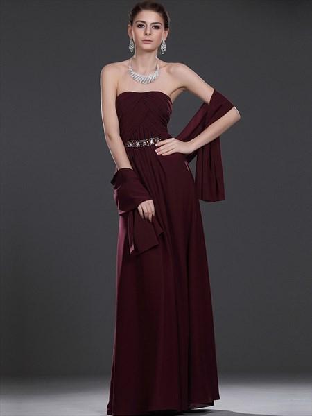 Burgundy Strapless Beaded Chiffon Bridesmaid Dresses With Shawls