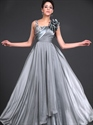 Show details for Flowy Grey Chiffon Sequin Top Formal Dress With Ruffled Shoulder