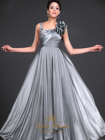 Flowy Grey Chiffon Sequin Top Formal Dress With Ruffled