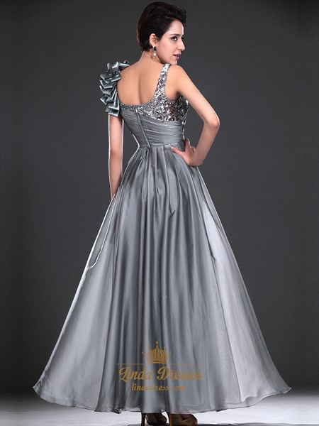 Flowy Grey Chiffon Sequin Top Formal Dress With Ruffled Shoulder