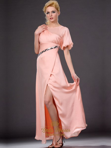 Show details for Peach Chiffon Empire Waist Front Split Prom Dress With Beaded Belt