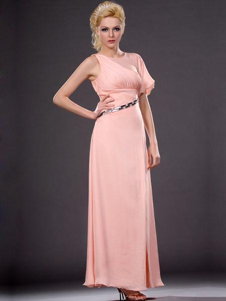 Peach Chiffon Empire Waist Front Split Prom Dress With Beaded Belt