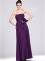 Show details for Purple Strapless Chiffon Full Length Bridesmaid Dresses With Flower Sash