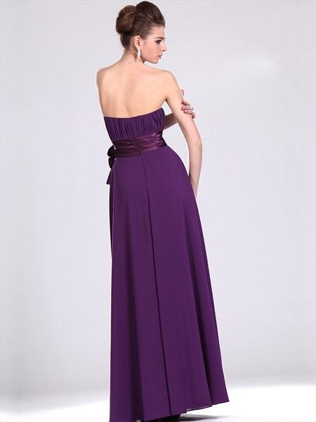 Purple Strapless Chiffon Full Length Bridesmaid Dresses With Flower Sash