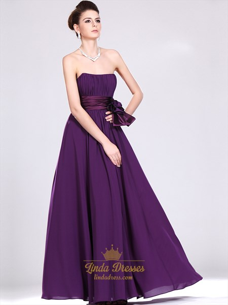 Purple Strapless Chiffon Full Length Bridesmaid Dresses With Flower Sash