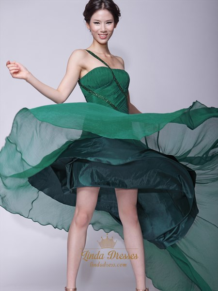 Emerald Green One Shoulder Chiffon Prom Dresses With Beaded Straps