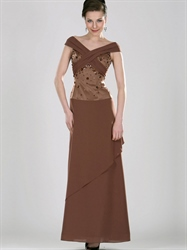 Coffee Column Off The Shoulder Chiffon Prom Dress With Beaded Bodice