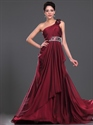 Show details for Burgundy One Shoulder Beaded Side Drape Chiffon Prom Dress With Floral