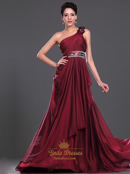 Burgundy One Shoulder Beaded Side Drape Chiffon Prom Dress With Floral