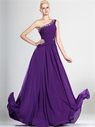 Purple One Shoulder Chiffon Prom Dress With Beaded Neckline And Straps