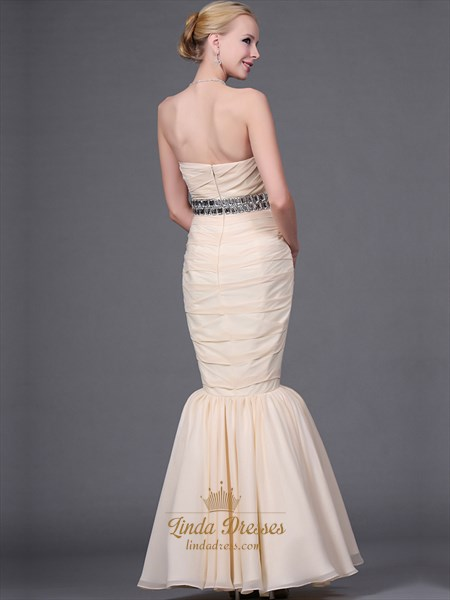Champagne Strapless Long Prom Dress With Stone Details And Mermaid Skirt