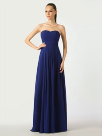 Royal Blue Sweetheart Strapless Bridesmaid Dresses With Ruched Bodice