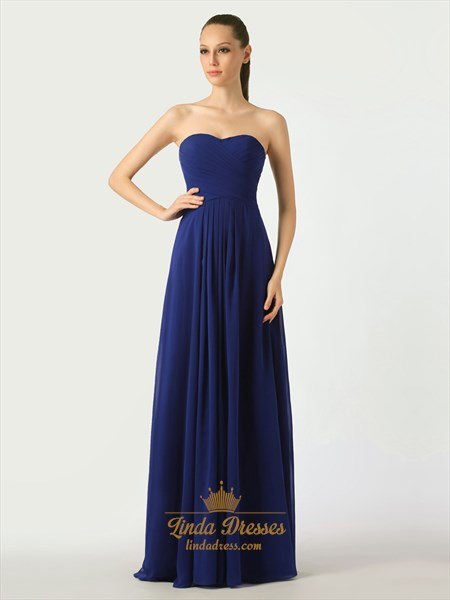 Show details for Royal Blue Sweetheart Strapless Bridesmaid Dresses With Ruched Bodice