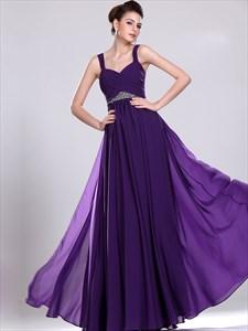 Purple A-Line Sweetheart Chiffon Floor-Length Prom Dress With Beading
