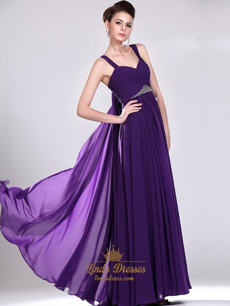 Purple A-Line Sweetheart Chiffon Floor-Length Prom Dress With Beading