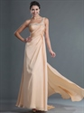 Show details for Champagne One Shoulder Prom Dress With Beaded Neckline And Straps