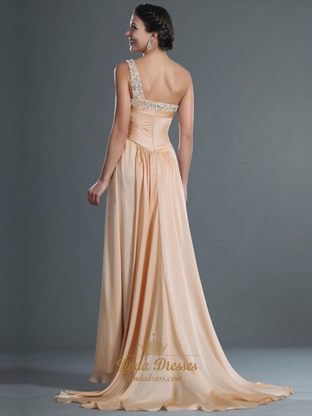 Champagne One Shoulder Prom Dress With Beaded Neckline And Straps