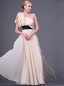 Show details for Champagne Chiffon One Shoulder Long Bridesmaid Dresses With Black Sash