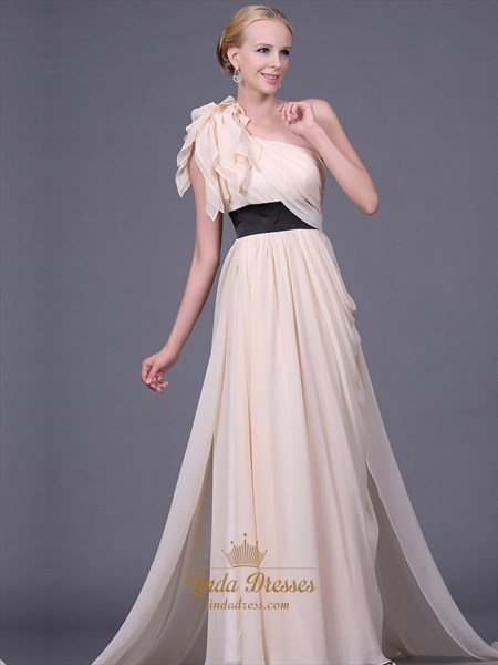 Champagne Chiffon One Shoulder Long Bridesmaid Dresses With Black Sash