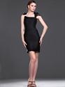 Show details for Elegant Black Sheath High Neck Short Cocktail Dress With Embellishments
