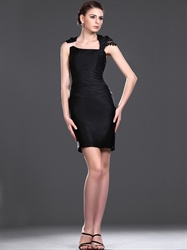 Elegant Black Sheath High Neck Short Cocktail Dress With Embellishments