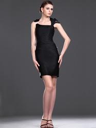 Elegant Black Sheath High Neck Short Cocktail Dress With Embellishments