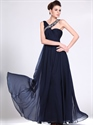 Show details for Navy Blue Chiffon Bridesmaid Dress With Ruched Bodice And Beaded Straps