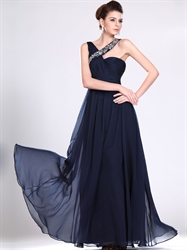 Navy Blue Chiffon Bridesmaid Dress With Ruched Bodice And Beaded Straps