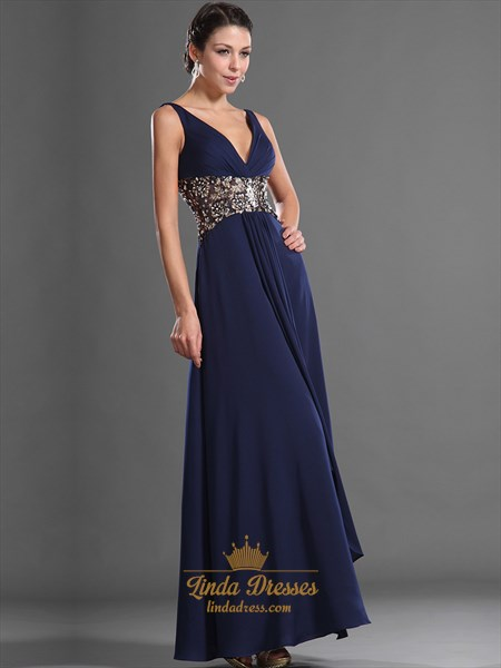 Navy Blue A-Line V-Neck Chiffon Prom Dress With Embellished Waistband
