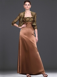 Coffee Coloured Lace Bodice Mother Of The Bride Dresses With Lace Jacket
