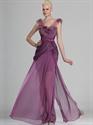 Show details for Grape V-Neck Chiffon Sheer Skirt Prom Dress With Flower Details