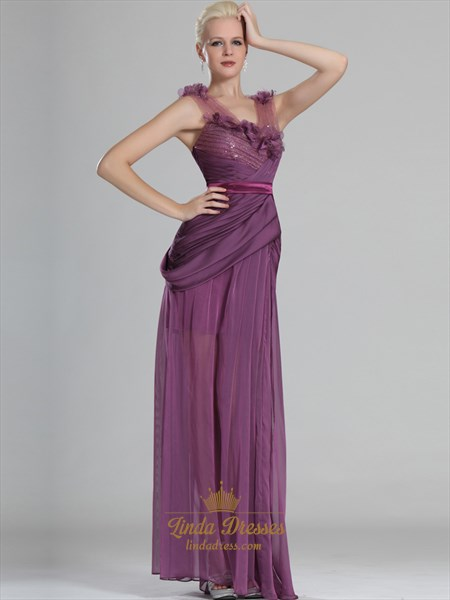 Grape V-Neck Chiffon Sheer Skirt Prom Dress With Flower Details