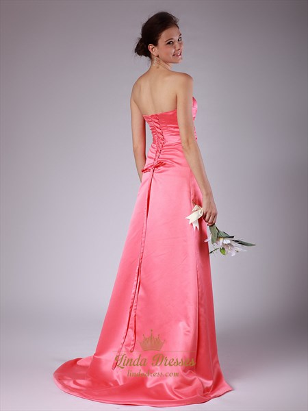 Coral Strapless Satin A-Line Bridesmaid Dress With Sweetheart Neckline