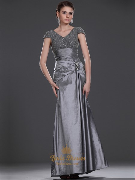 Grey Taffeta V Neck Mermaid Mother Of The Bride Dresses With Lace Bodice