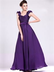 Purple Strapless Sweetheart Chiffon Bridesmaid Dresses With Ruching